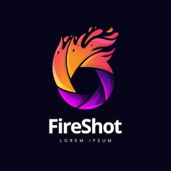 Logotipo de fotografía de obturador de fuego
