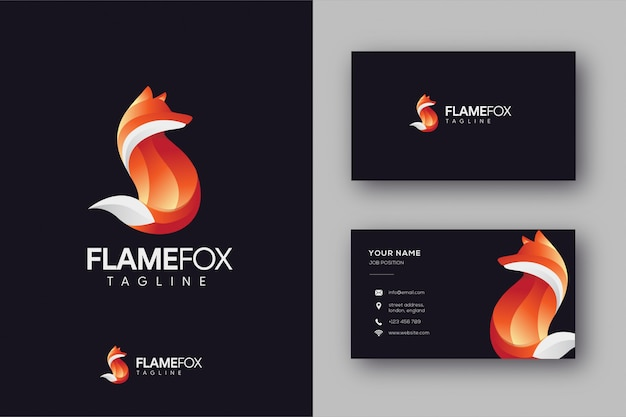 Logotipo de fox y plantilla de tarjeta de visita