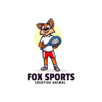 Logotipo de fox sports mascot estilo de dibujos animados