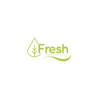 Logotipo fresco con plantilla de hojas