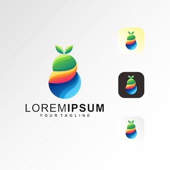 Logotipo de fruta abstracta colorida