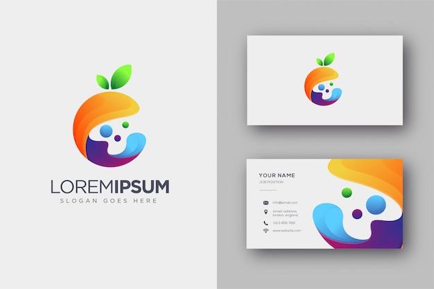 Logotipo de fruta fluida colorido abstracto y tarjeta de visita