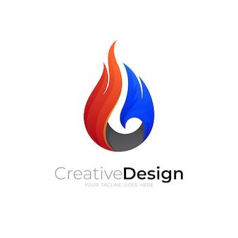 Logotipo de fuego con combinación de colores, iconos 3d