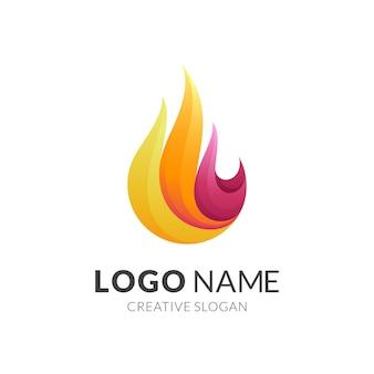 Logotipo de fuego con estilo colorido 3d