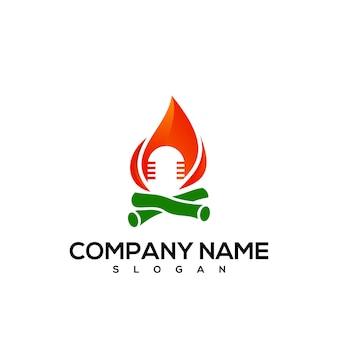 Logotipo de fuego de micrófono