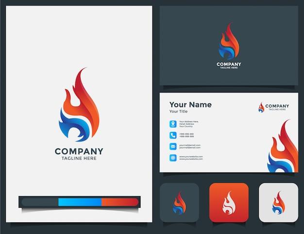 Logotipo de fuego y tarjeta de visita.
