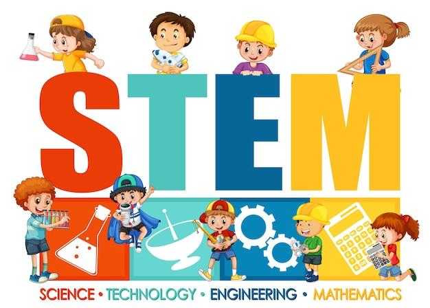 Logotipo de fuente de educación stem con personaje de dibujos animados de niños