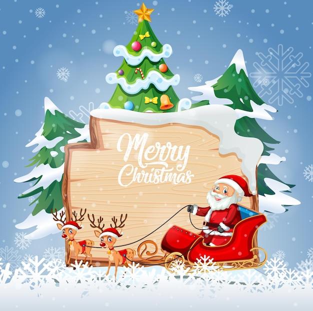 Logotipo de fuente de feliz navidad en tablero de madera con personaje de dibujos animados de navidad en escena de nieve