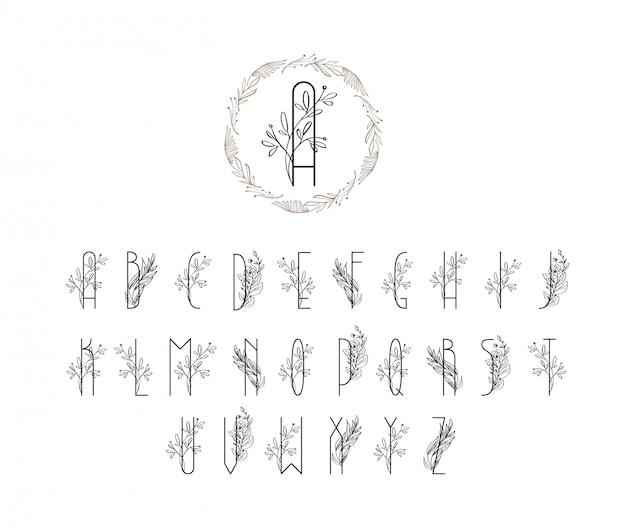 Logotipo de fuente floral de verano o primavera. logo floral vintage alfabeto mayúscula. plantilla de invitación de boda