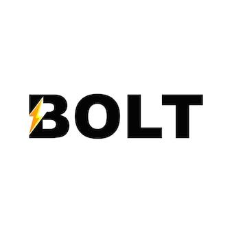 Logotipo de fuente de texto de perno con símbolo de rayo