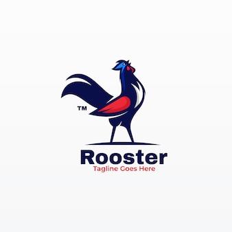Logotipo de gallo estilo mascota simple.