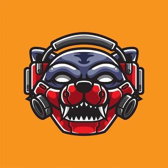 Logotipo de gamer cat e sport
