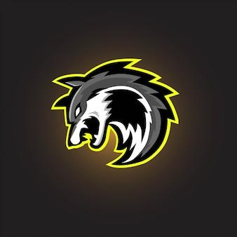 Logotipo de gaming lobo gris esport