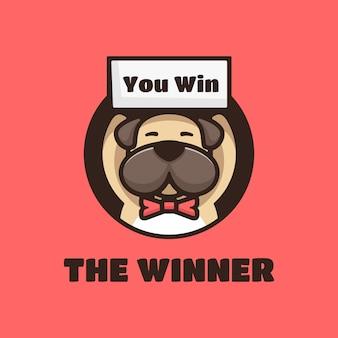 Logotipo el ganador estilo mascota simple.