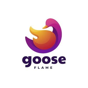 Logotipo de ganso estilo colorido degradado