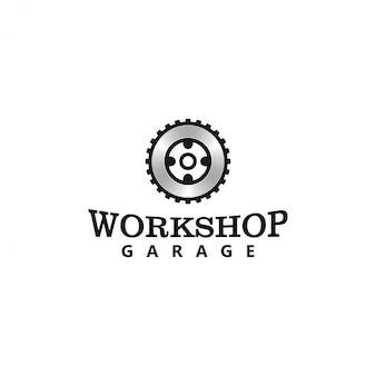 Logotipo de garaje, elemento de engranaje automotriz