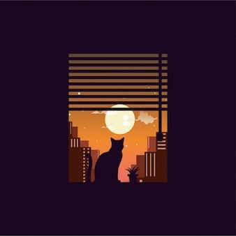 Logotipo de gato noche ciudad