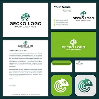 Logotipo de gecko y tarjeta de visita vector premium