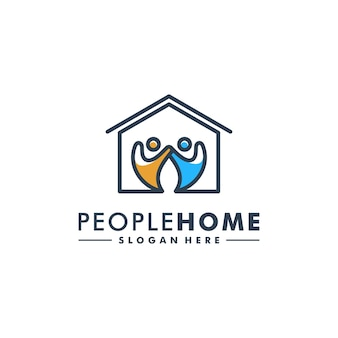 Logotipo de la gente de inicio logotipo de icono humano