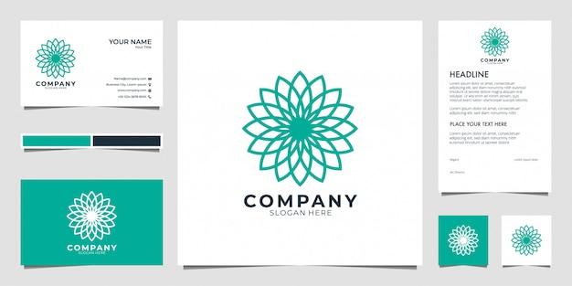 Logotipo de geometría de flores. los logotipos se pueden utilizar para spa, salón de belleza, decoración, boutique. y tarjeta de visita