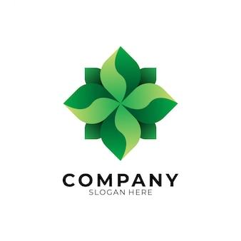 Logotipo de geometría de hoja verde