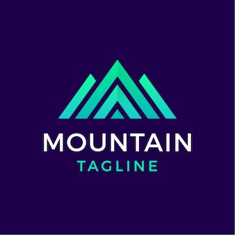 Logotipo geométrico de montaña de estilo moderno