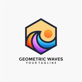 Logotipo geométrico de ondas