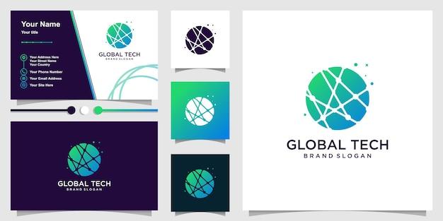 Logotipo global con concepto de tecnología de arte lineal