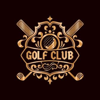 Logotipo de golf dorado vintage detallado