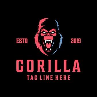 Logotipo de gorila enojado vintage moderno