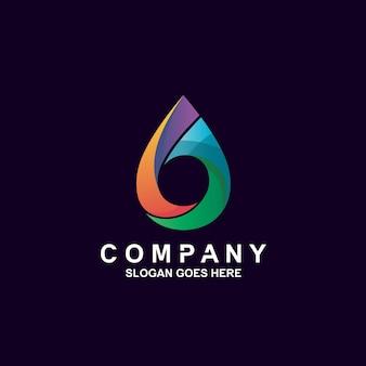 Logotipo de gota de agua colorida