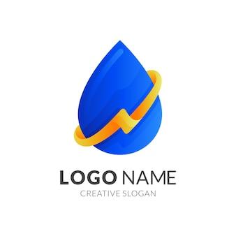 Logotipo de gota de agua con diseño de trueno