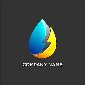 Logotipo de gota de agua eléctrica