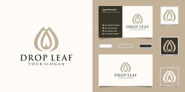 Logotipo de gota de agua y hoja y tarjeta de visita.