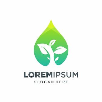 Logotipo de gota de agua de hoja