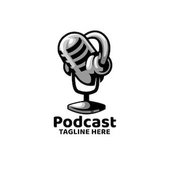Logotipo de grabación de noticias de podcast broadcast mic
