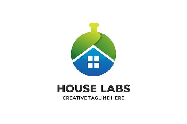 Logotipo de gradiente de ciencia de laboratorio de la casa