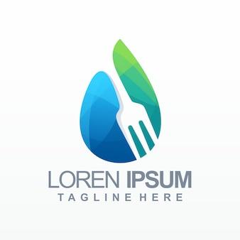 Logotipo de gradiente de comida de agua