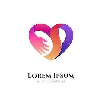 Logotipo de gradiente de cuidado del corazón