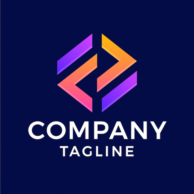 Logotipo de gradiente hexagonal abstracto moderno letra f