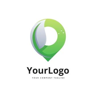 Logotipo de gradiente de lugar y hoja vector premium
