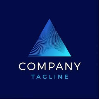 Logotipo de gradiente de prisma de triángulo abstracto moderno de lujo