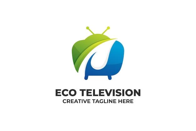 Logotipo de gradiente de televisión de naturaleza ecológica