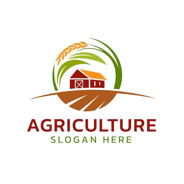 Logotipo de la granja agrícola con líneas circulares afiladas
