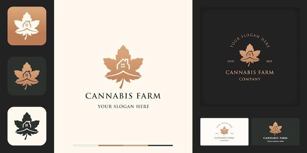 Logotipo de la granja de cannabis, hoja y casa de cannabis, y diseño de tarjetas de visita.