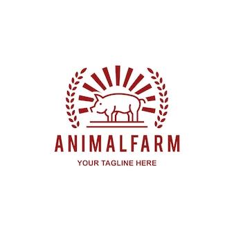 Logotipo de granja de carnicería de carne de cerdo