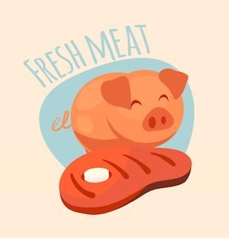 Logotipo de la granja con cerdo feliz y bistec en estilo de dibujos animados.