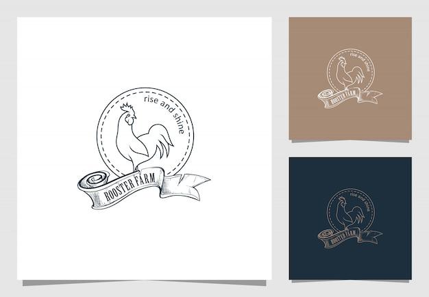 Logotipo de granja de gallo en estilo retro