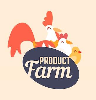 Logotipo de la granja con un gallo, pollo y pollo en estilo de dibujos animados.