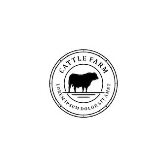 Logotipo de la granja de ganado, granja de vacas angus